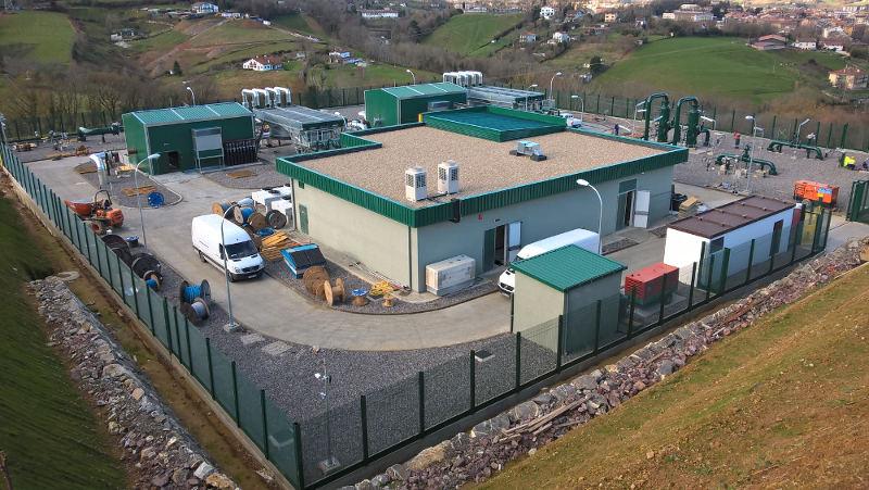 Estación de compresión de gas Euskadour, en Irún de Compresión de Euskadour. Foto: Enagás.
