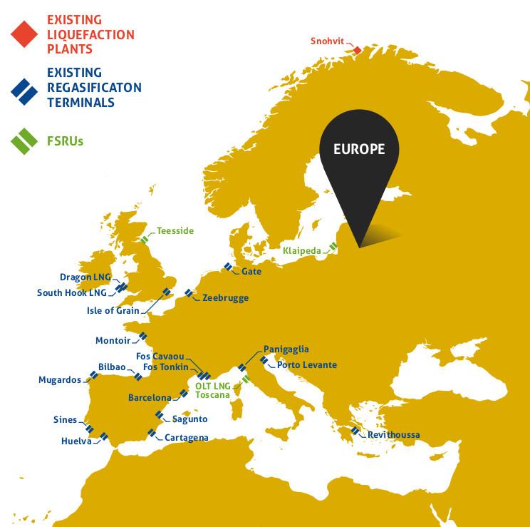 Mapa de plantas de regasificacion en Europa